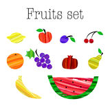 Colorful different fruits set vector illustration. Brush strokes style. Stock Image