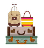 Colorful different types of luggage. Flat design. Vector. Royalty Free Stock Image