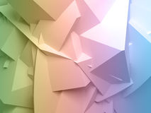 Colorful digital 3d chaotic polygonal surface. Abstract colorful digital 3d chaotic polygonal surface background texture Royalty Free Stock Photos