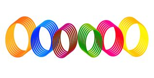 Colorful Digital gradient Rings. Colorful gradient rings illustration isolated on white. can be used for logos as well. Vector file Royalty Free Stock Photo