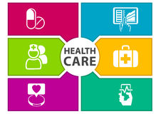 Colorful digital healthcare background with icons regarding wearables, dashboard, tablets, medicine, smart phone.  Stock Image