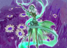 Colorful digital illustration of an elegant elf girl perfoming forest nature magic Stock Image