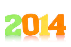 Colorful digits shows year 2014 Stock Photo