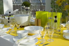Colorful dining table setting royalty free stock photos