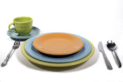 Colorful Dinner Place setting. A Fiesta Colored Dinner Place setting Stock Photo