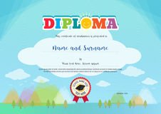 Colorful diploma certificate for kids on bright blue background Stock Images