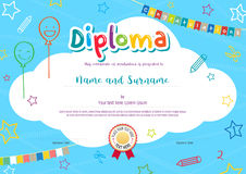 Colorful diploma certificate for kids. On bright blue background with kids elements Royalty Free Stock Image