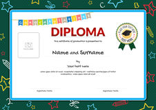 Colorful diploma certificate for kids on green chalk board Royalty Free Stock Images