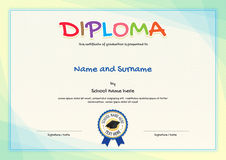 Colorful diploma certificate template for kids. In vector Royalty Free Stock Photo