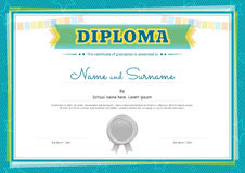Colorful diploma certificate template for kids. In vector vector illustration
