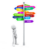 Colorful Direction Sign of Majors Stock Photos