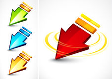Colorful directional arrows. Set of four colorful directional arrows with rotating and moving effect, isolated on white background Royalty Free Stock Photo