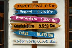 Colorful directional sign with cities and distances Barcelona Spain royalty free stock photos