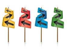 Colorful directional signposts. Set of four colorful directional signposts isolated on white background Stock Photos