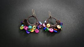 Colorful Disc Beaded Earrings Royalty Free Stock Images