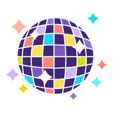 Colorful disco ball that shines bright isolated illustration Stock Image