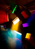 Colorful disco lights I. N smoke Royalty Free Stock Photography