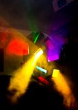 Colorful disco lights II. Colorful disco lights in smoke Royalty Free Stock Photos