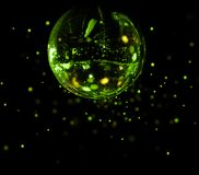 Colorful disco mirror ball green light spots. Colorful disco mirror ball flying green light spots background stock photo