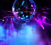 Colorful disco mirror ball lights Stock Photos