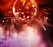 Colorful disco mirror ball lights. Night club background stock photo