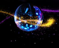 Colorful disco mirror ball light stream. Colorful disco mirror ball sparkling light stream background stock photo