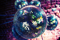 Colorful disco party background with mirror balls Stock Photography