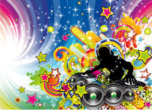 Colorful Discoteque Flyer. Tropical Music Event Colorful Background for Disco flyers Stock Image