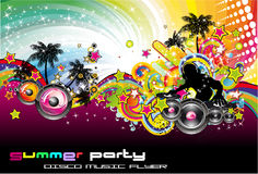 Colorful Discoteque Flyer. Tropical Music Event Colorful Background for Disco flyers Stock Photo