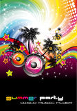 Colorful Discoteque Flyer. Tropical Music Event Colorful Background for Disco flyers Royalty Free Stock Photo