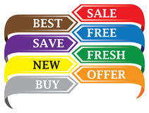 Colorful discount labels Stock Image