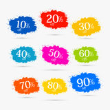 Colorful Discount Labels, Stains, Splashes. Ten to Ninety Percent Royalty Free Stock Photography