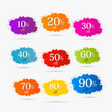 Colorful Discount Labels, Stains, Splashes. Ten to Ninety Percent Off Royalty Free Stock Photography