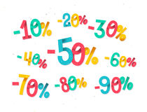 Colorful discount percentages, fun  childish folded paper style Royalty Free Stock Image