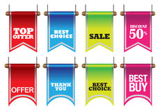 Colorful discount sell labels Royalty Free Stock Images