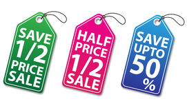 Colorful discount tags with thread Stock Images