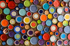 Colorful dish. Es on the ceiling royalty free stock photo