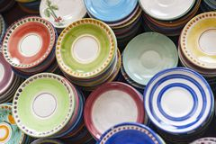 Colorful dishes. Top view of colorful dishes, made and hand-painted, to vietri sul mare. charming town at the gates of the Amalfi coast, a UNESCO heritage Stock Photos