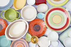 Colorful dishes and utensils Royalty Free Stock Photography