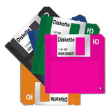 5 Colorful diskette. Multicolor diskette isolated on white background. EPS 10 Vector illustration Stock Images