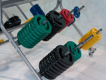 Colorful Disks for Barbell in Gym: Weight Fitness Equipment Royalty Free Stock Photos