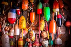 Lobster buoys display royalty free stock photography