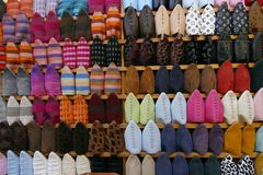 Colorful display of Moroccan slippers. Called babouches. Medina market in Fes, Morocco Stock Images