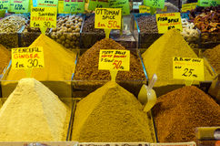 Colorful display of spices in Spice Bazaar Stock Images