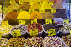 Colorful display of spices and tea in Spice Bazaar Stock Photos