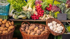 Colorful display of various vegetables in a local market in Berlin Germany. Wallpaper royalty free stock photo