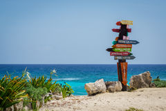 Cozumel distance sign. Colorful distance sign at the Punta Sur Eco Beach Park in Cozumel, Mexico Royalty Free Stock Photos