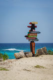 Cozumel distance sign. Colorful distance sign at the Punta Sur Eco Beach Park in Cozumel, Mexico Royalty Free Stock Photo