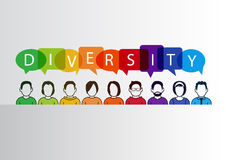 Colorful diversity background with group of people and text Royalty Free Stock Images