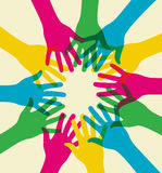 Colorful diversity teamwork. Multicolored hands illustration over a light background Royalty Free Stock Images